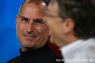 Steve Jobs and Bill Gates on stage at D All Things Digital 2007