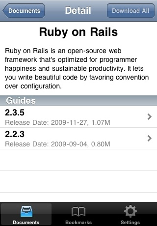 Screenshot of Devstant, an iPhone app that manages documentation