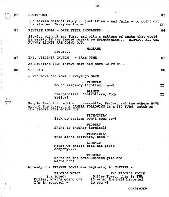 《虎胆龙威 2》剧本的一页